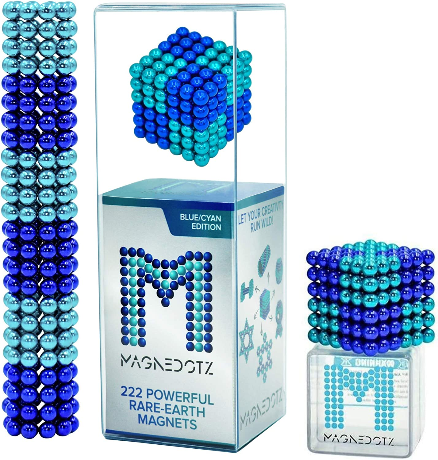 Blue // Cyan Edition MagneDotz Magnetic Balls 5mm Fidget Gadget Toys Rare Earth Magnet Marbles Desk Toy Games Magnetic Beads Stress Relief Toys for Adults