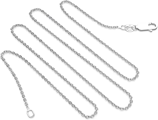 925 Sterling Silver 7mm Cable Chain Necklace 20 inch with Secure Pearl Clasp