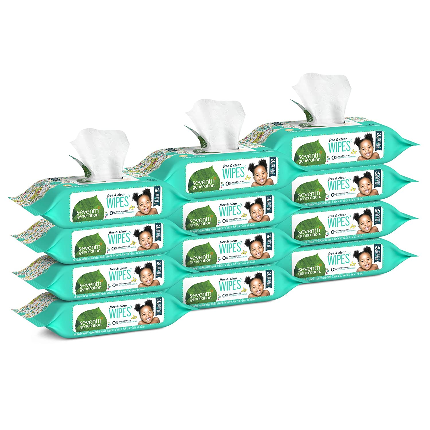 Seventh Generation Thick & Strong Free and Clear Baby Wipes Refill, Pack of 12 (Total 768 Count) Unilever 732913342204