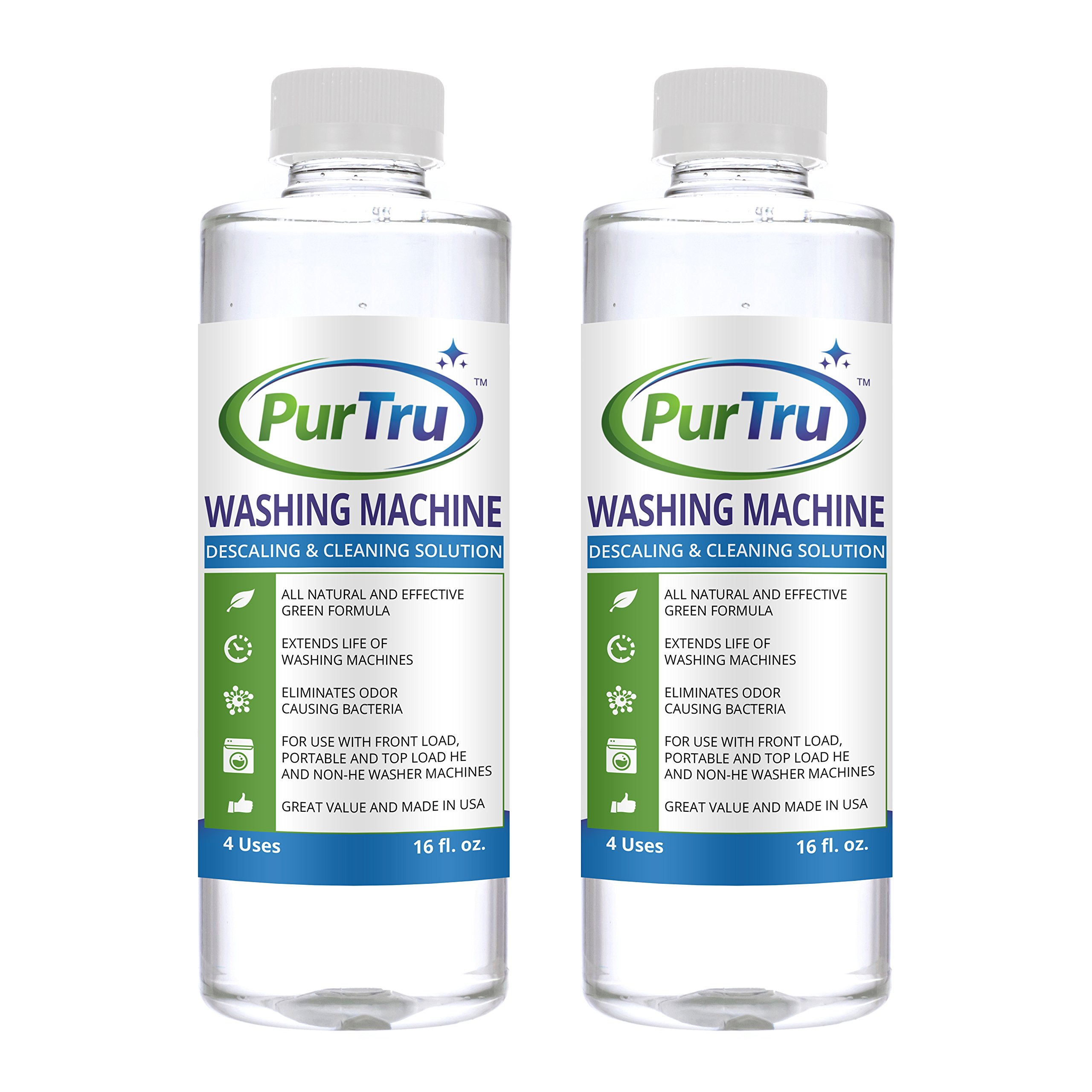 Washing Machine Cleaner (2 Pack) - All Natural and Safe Descaling & Cleaning Solution For Maytag, Whirlpool, Kenmore And All Top Load, Front Load, Portable, HE and Non-HE Washers