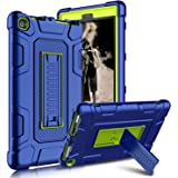 Kindle Fire 8 2018 Case, Kindle Fire 8 2017 Case, Zenic Three Layer Heavy Duty Shockproof Full-body Protective Hybrid Case With Kickstand for Kindle Fire 8 2018 Release/All-New Fire HD 8 (Yellow/Blue)