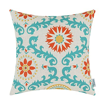 CaliTime Canvas Throw Pillow Cover Case for Couch Sofa Home Decoration Three-Tone Dahlia Floral Compass Geometric 18 X 18 Inches ...