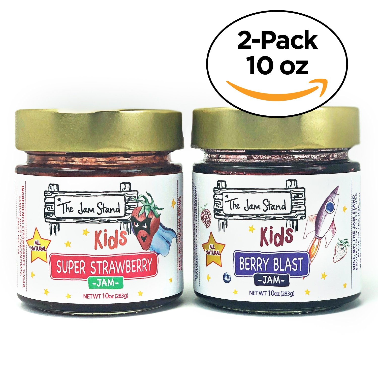 Kids Super Strawberry Jam, 10 oz. and Berry Blast, by The Jam Stand (Pack of 2) by The Jam Stand