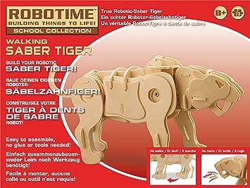 Robotime Kit 73pz Dinosaurio Pequeno Madera Saber Tiger Rt 9111