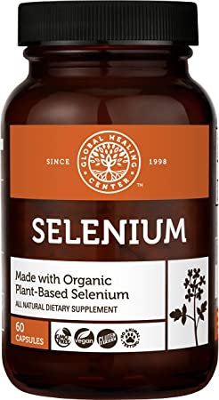 Global Healing Selenium 200mcg with Mustard Seed Extract, Antioxidant Supplement for Thyroid Support, Natural Metabolism, and Immune System Health - Non-GMO & Gluten-Free - Men & Women 60 Capsules
