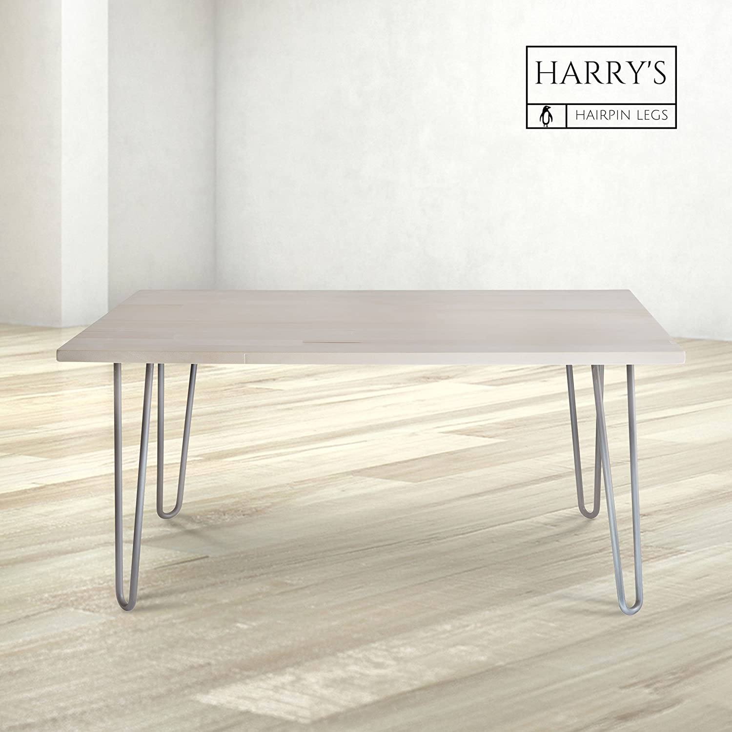 """Hairpin Metal Coffee Table Legs 16 Inch Raw Steel 1 2"""" Thick"""