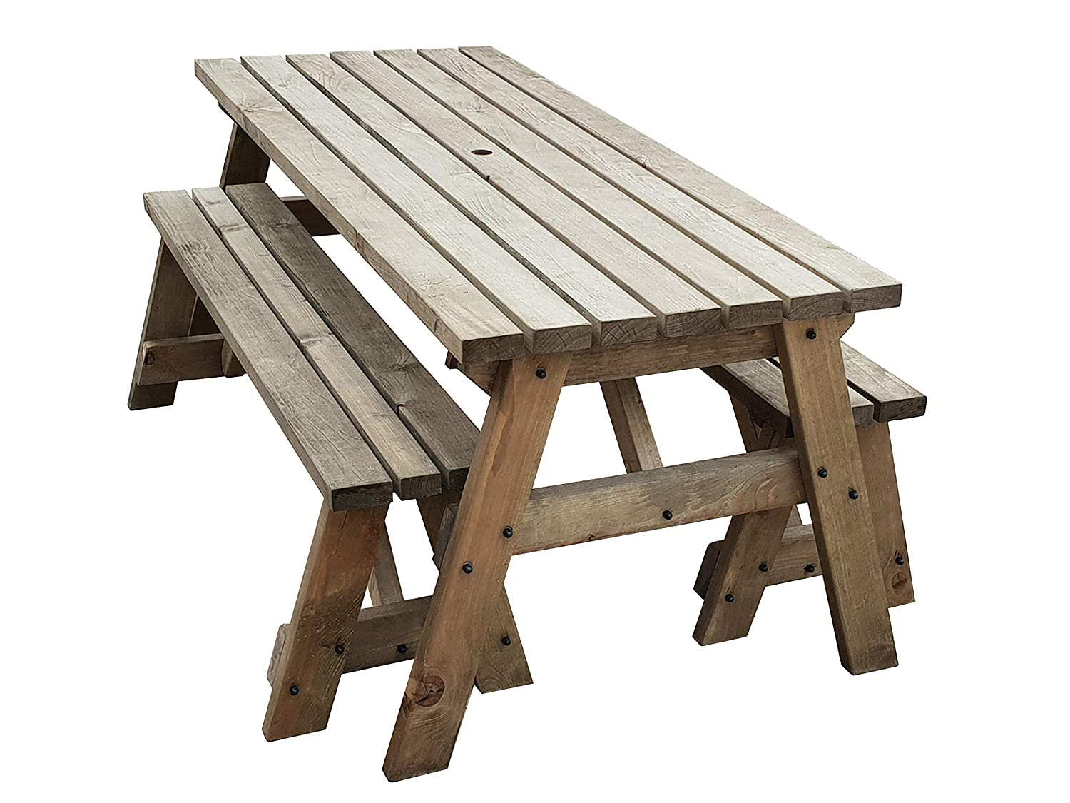 Victoria compact garden picnic table and benches space saving furniture for small spaces heavy duty handmade in uk pressure treated rustic brown