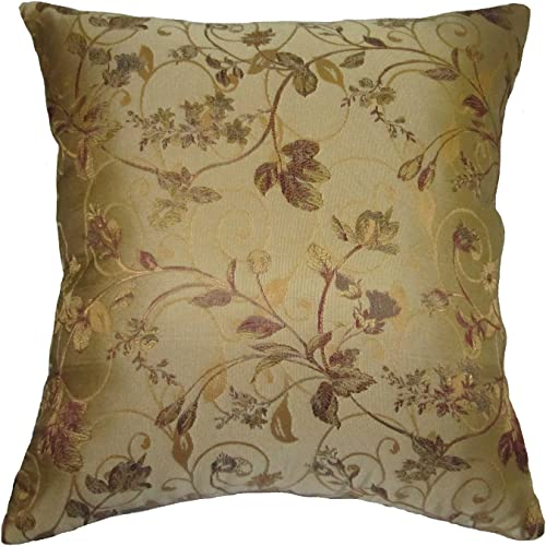 ReynosoHomeDecor Beige, Burgundy, Gold, and Green Floral Brocade Square Decorative Throw Pillow 36 x36