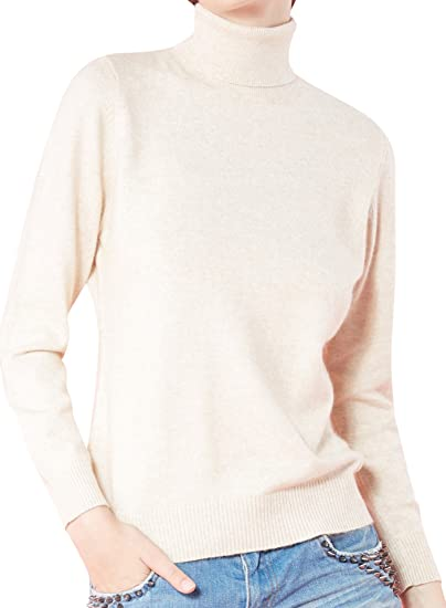 Turtleneck Casual Women 100/% Cashmere Sweater Long Sleeve Warm Pullover Top Slim