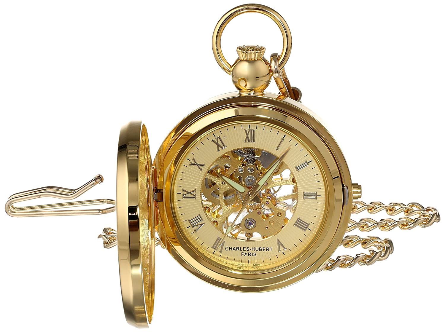 CDM product Charles Hubert 3848 Gold-Plated Mechanical Picture Frame Pocket Watch big image