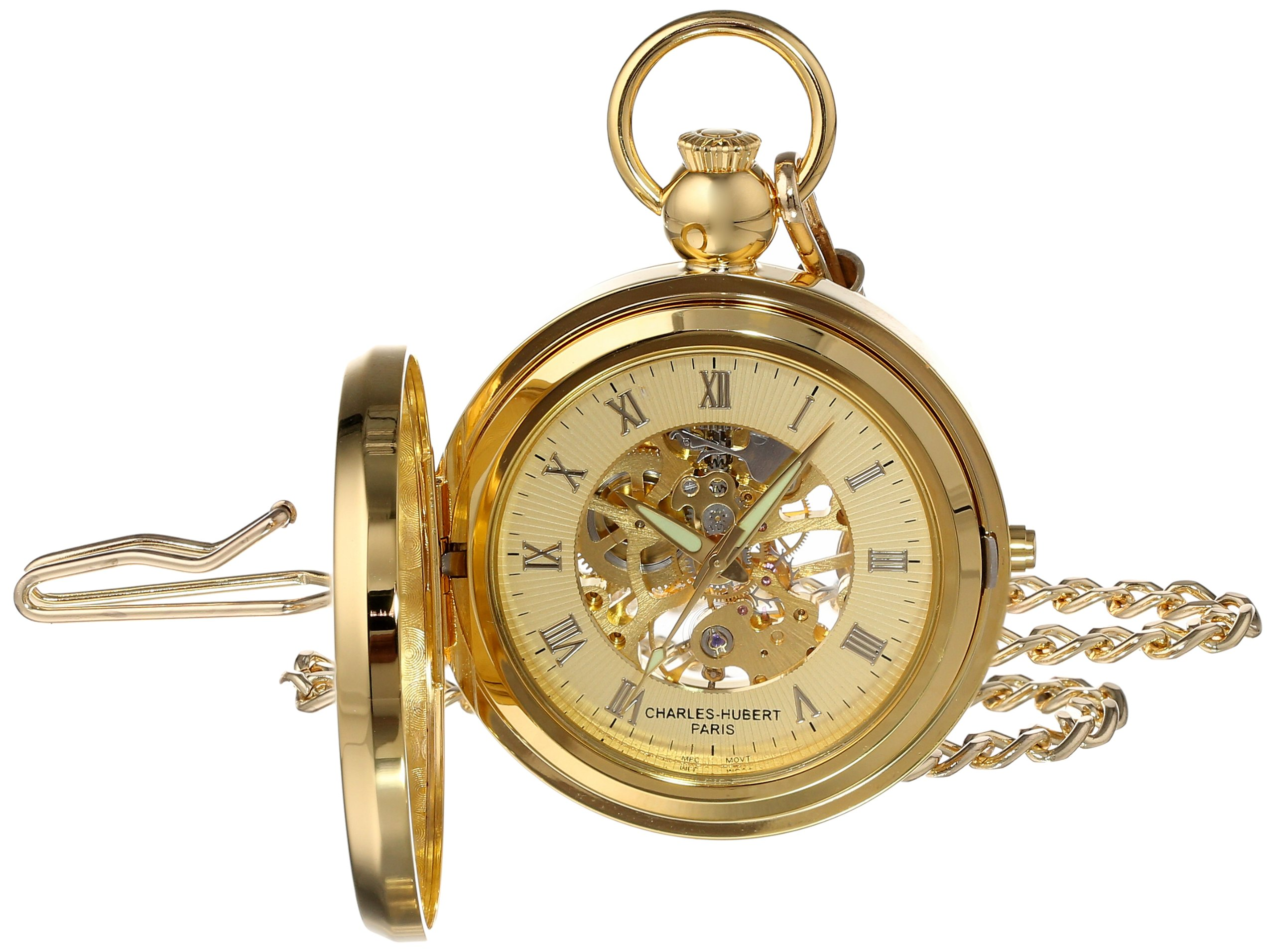 Charles Hubert 3848 Gold-Plated Mechanical Picture Frame Pocket Watch