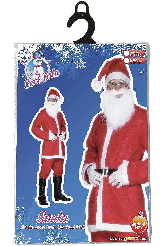 Smiffys-20841L Santa Disfraz de Papá Noel, con Chaqueta, pantalón, Barba, Gorro y cinturón, Color Rojo, L-Tamaño 42