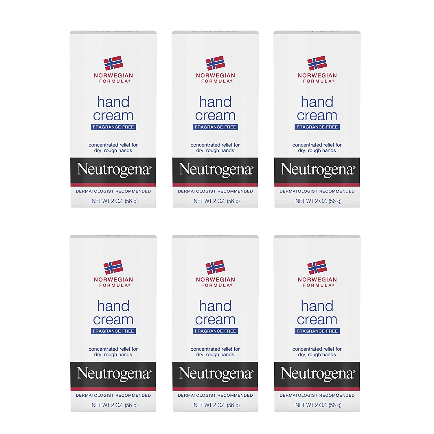 Neutrogena Norwegian Formula Moisturizing Hand Cream Formulated with Glycerin for Dry, Rough Hands, Fragrance-Free Intensive Hand Lotion, 2 oz, Pack of 6