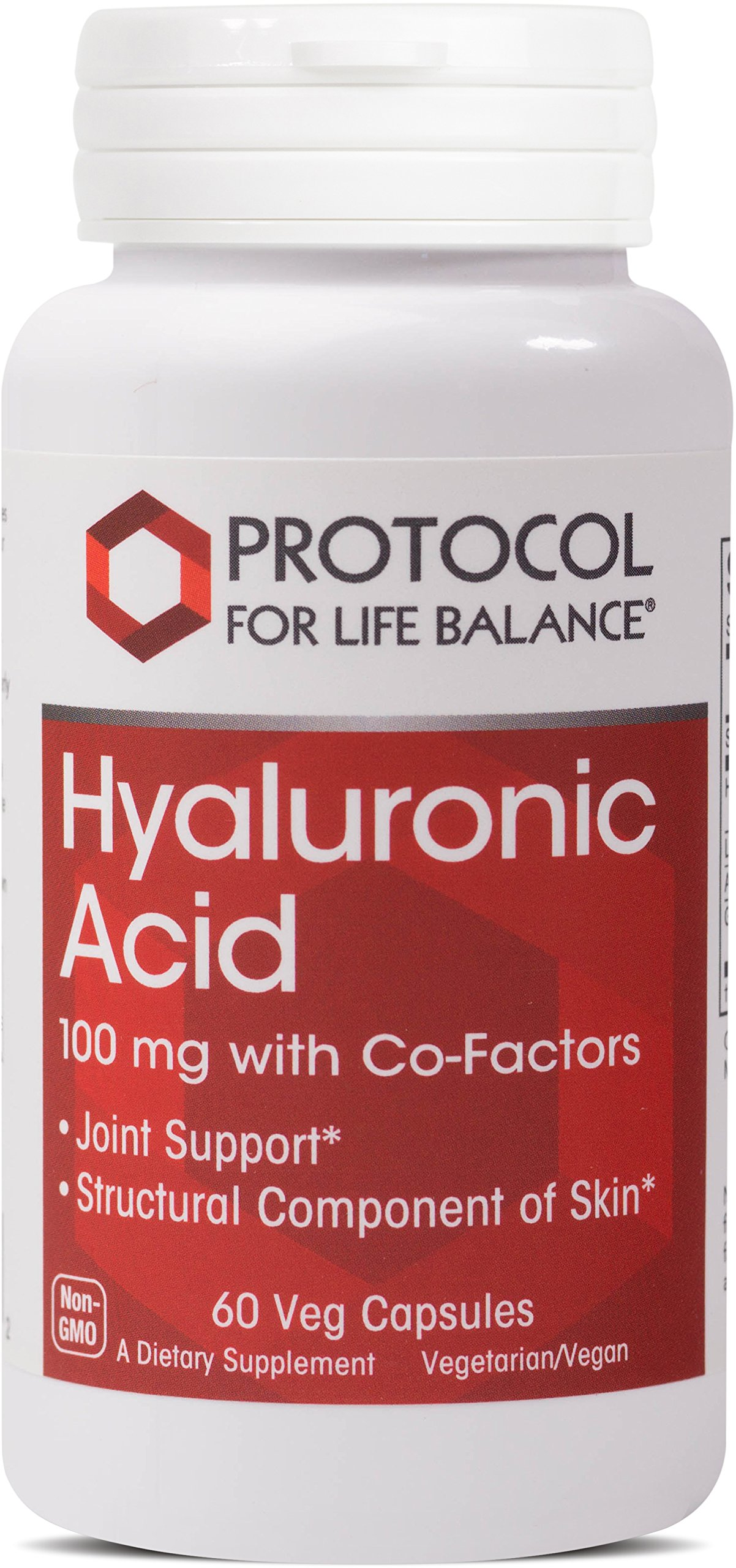 Protocol For Life Balance - Hyaluronic Acid - 100 mg with Co-factors for Overall Tissue Health Including Joint Support and Skin Hydration - 60 Vcaps