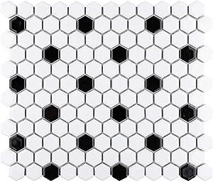SomerTile FXLMHWBD Retro Hexagon Porcelain Mosaic Floor and Wall Tile, 10.25