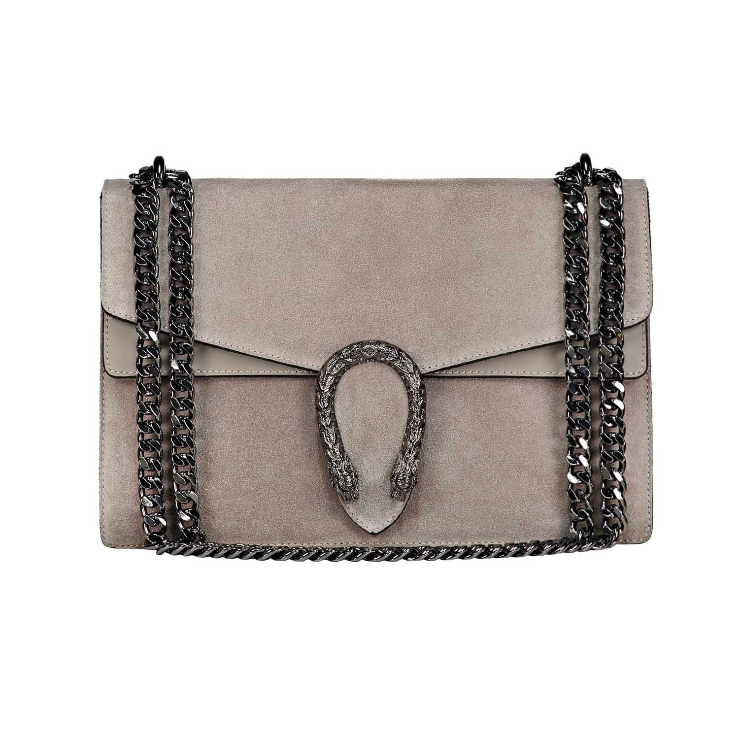 Italian cross body chain bag, designer evening purse, shoulder bag, handbag, flap bag, suede genuine leather (Medium, Grey taupe)
