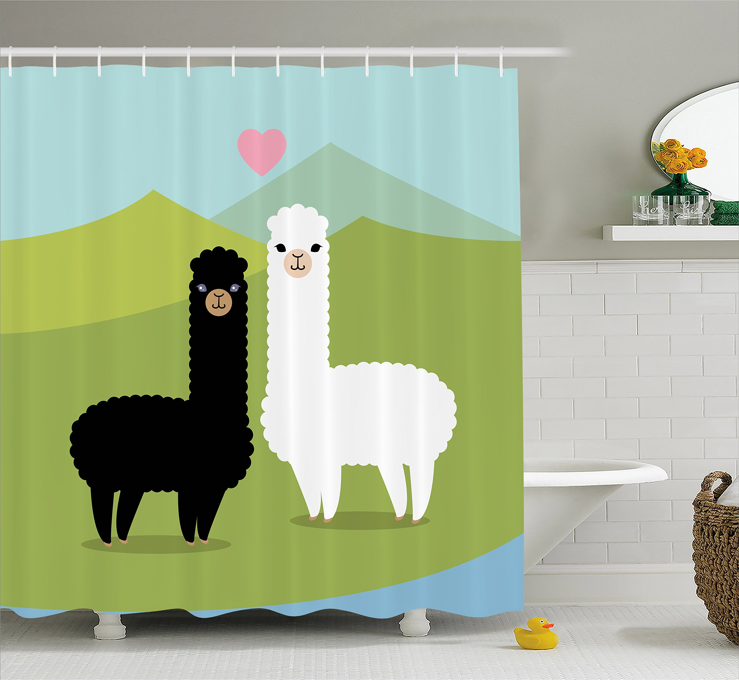 Ambesonne Llama Shower Curtain, Alpacas in Love in the Mountains Fauna Valentine's Animals with Contrasting Colors, Cloth Fabric Bathroom Decor Set with Hooks, 70 Inches, Multicolor