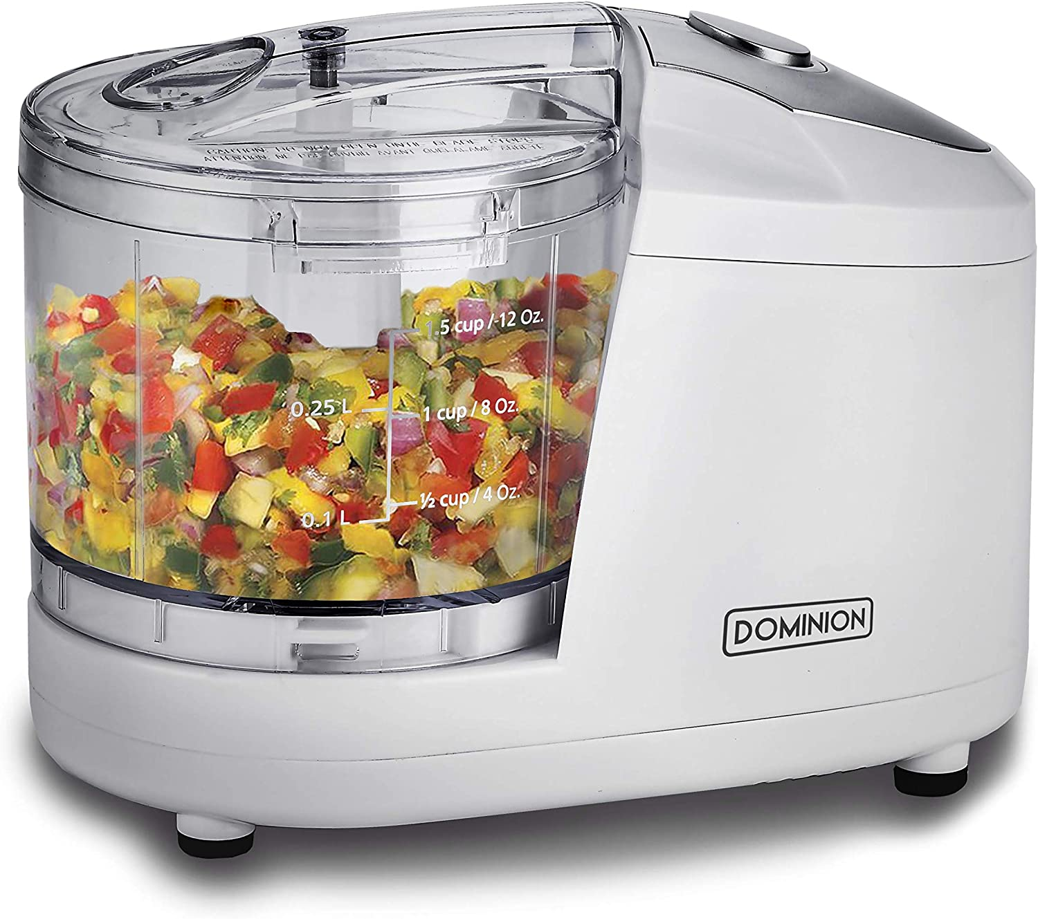 Dominion 1.5 Cup - Electric Mini Food Chopper - Vegetable & Fruit Cutter - Premium Stainless Steel Blades with Safety Lock Cover - One Step/Touch Button - Non-Skid Rubber Feet - White