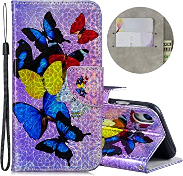 Wallet Case for iPhone 7 Plus//8 Plus with Glitter Pattern,QFFUN Bling Iridescent Design Magnetic Stand PU Leather Case with Card Holder Shockproof Folio Flip Cover and Screen Protector Unicorns