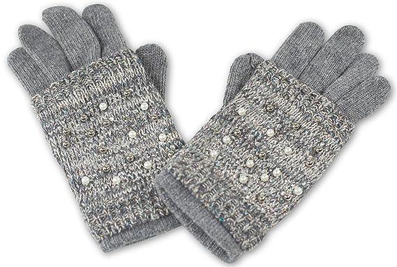 CASPAR GLV009 warm gefütterte Damen Winter Handschuhe Strickhandschuhe Strass