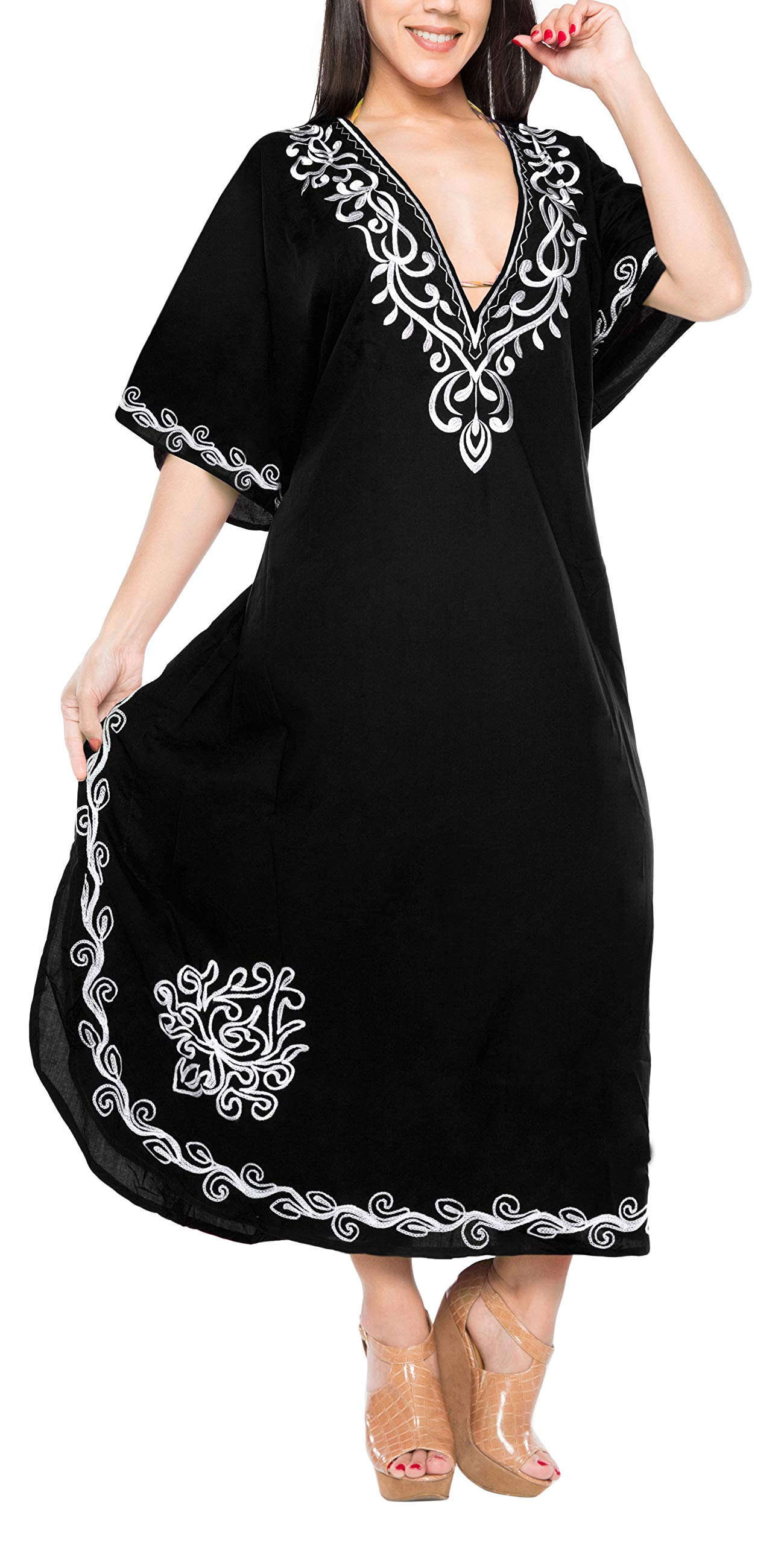 LA LEELA PV Solid Long Caftan Casual Dress Girls Black_923 OSFM 14-32W [L-5X]