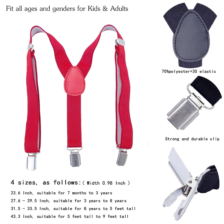 Adjustable Y Shape Elastic Leather Braces Suspenders Khaki, 27.6-29.5 Inch 3 Years - 8 Years Toddler Kids Boys Baby Suspenders
