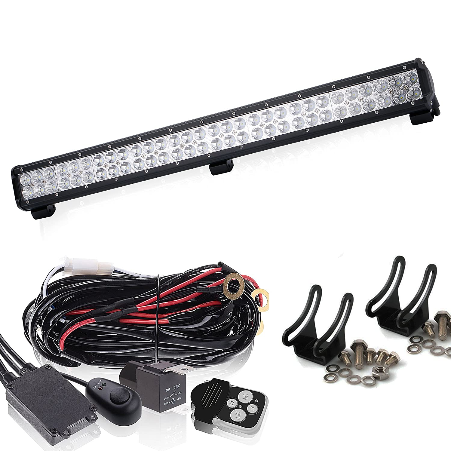 Straight 32'' Inch LED Light Bar + Wiring Kit OFFROAD SUV 4WD ATV VS 50/42/ 20