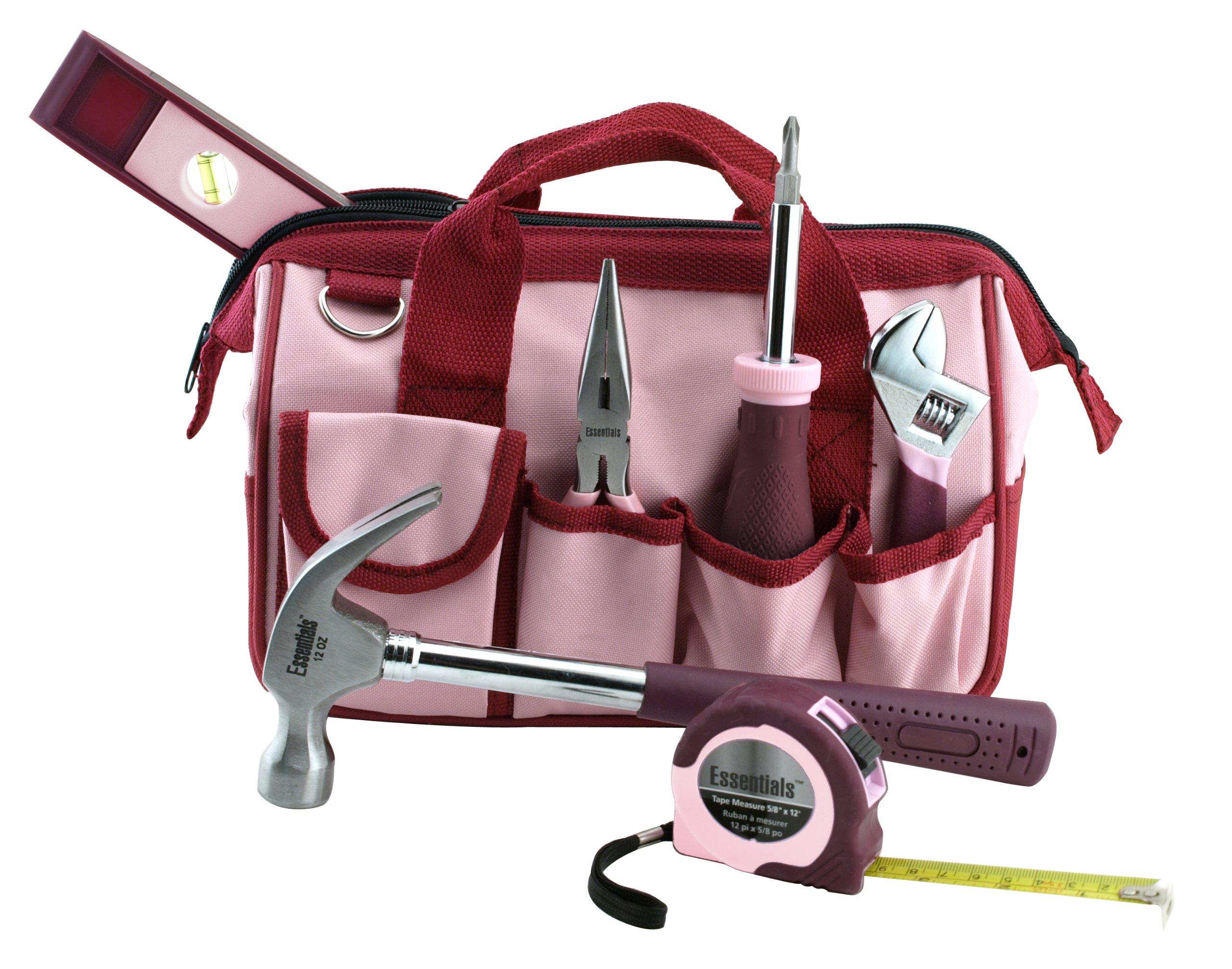 Great Neck 6709 Essentials Around The House Tool Set, Pink, 7-Piece