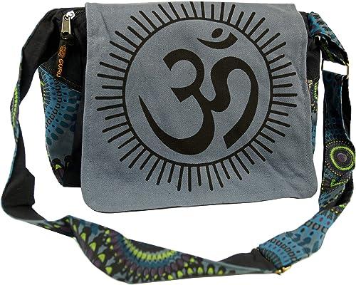Guru Shop Schultertasche, Hippie Tasche, Goa Tasche Om Grün, HerrenDamen, Baumwolle, 23x28x12 cm, Alternative Umhängetasche, Handtasche aus Stoff
