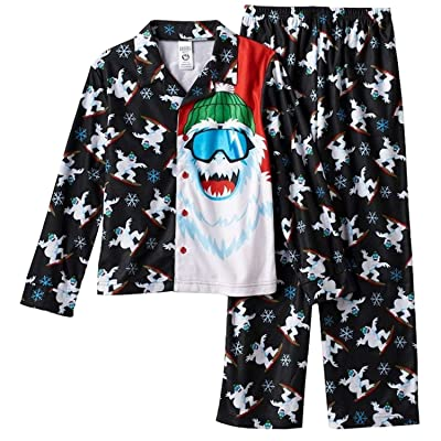 Mad Dog Concepts Boys Black Snowboarding Yeti Flannel Pajama Set