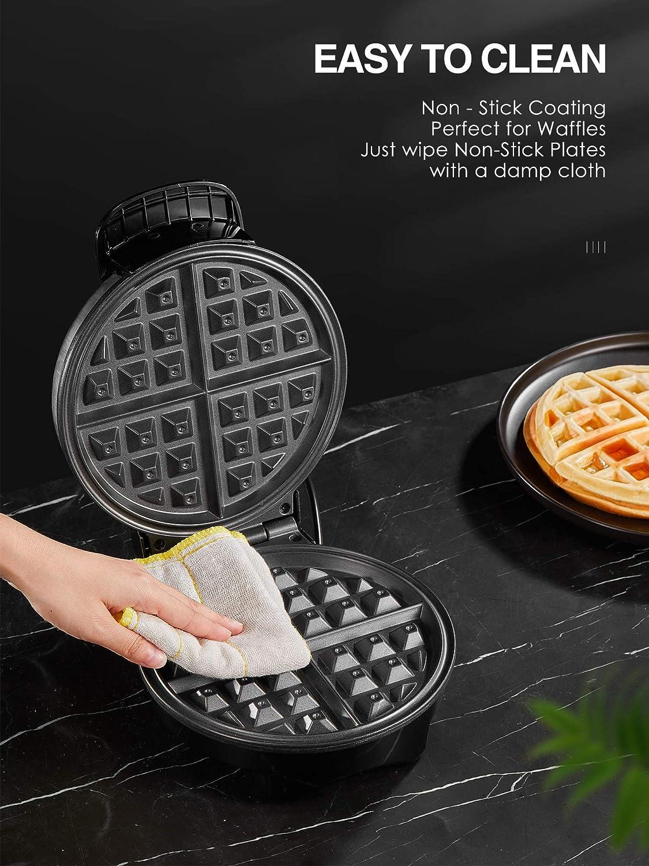 Waffeleisen Aicook Temperaturregler Amerikanischer Runder Waffle Maker Elektrischer Waffelautomat Edelstahl Thermostat Waffeleisen Belgische Waffel Mit Antihaftbeschichtung Signalleuchten