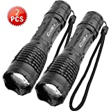 Tactical Flashlights iCoostor Handheld LED Torches Flashlight Super Brightness Waterproof IPX5 5 Modes Zoomable Focus For Outdoor(E6-2PCS)