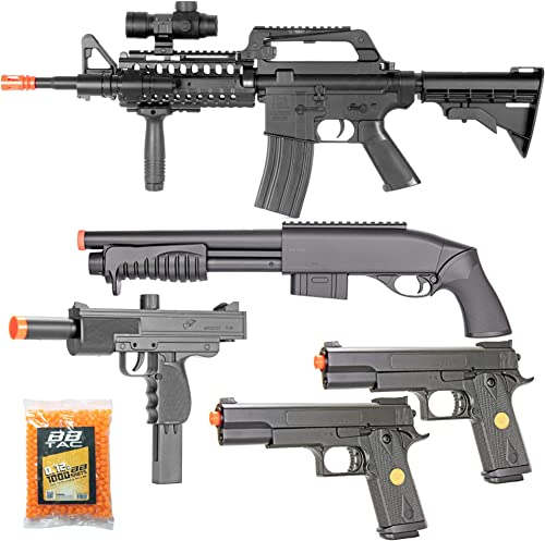 BBTac Airsoft Gun Package Desert Raider – Powerful Spring Rifle, Pump Action Shotgun, SMG, Two Pistols and BB Pellets, Preimum Airsoft Starter Pack