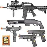 BBTac Airsoft Gun Package Desert Raider - Powerful Spring Rifle, Pump Action Shotgun, SMG, Two Pistols and BB Pellets…