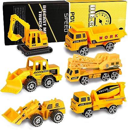 6Pcs Play Vehicles Construction Vehicle Truck Cars Toys Set Children Kids Digger