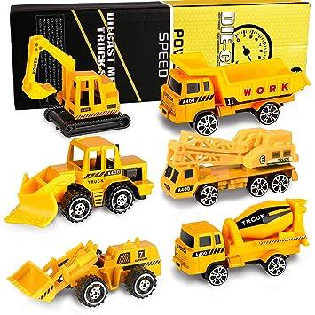 XDDIAS Mini Modelos de Construcción, 6 Pcs Aleación Modelo Camiones de Juguete, Diecast Metal Vehículos de Coches Camión Excavadora Navidad Cumpleaños ...