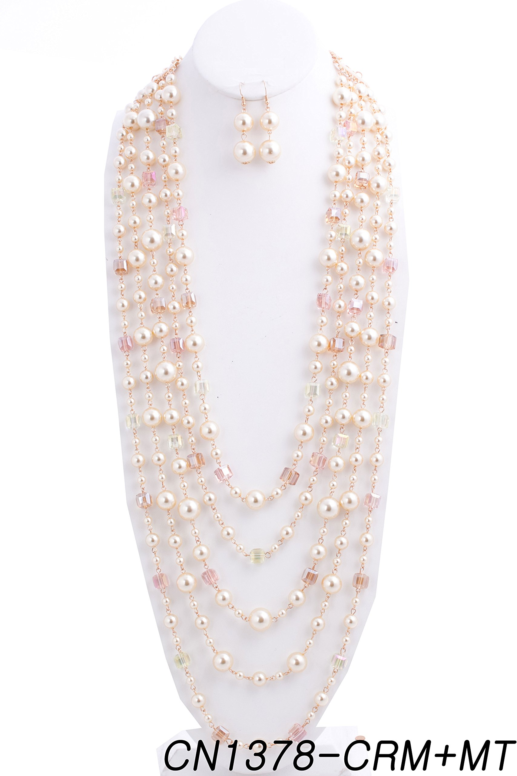 {CN1378 StyleNo1} WOMEN'S FASHIONABLE PEARL N CRYSTAL MULTI-LAYERED NECKLACE AND EARRINGS SET - Designed In USA (CREAM MULTI)