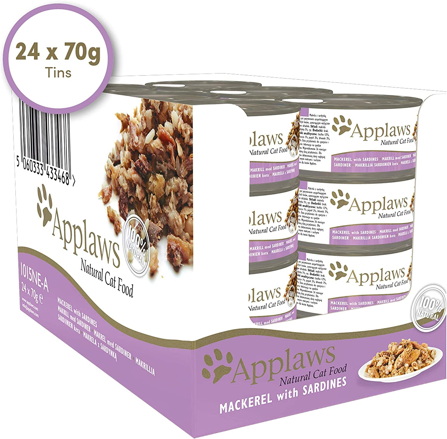 Applaws Cat Tin Mackerel with Sardine, 70 g, Pack of 24: Amazon.es ...
