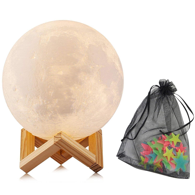 Lampada a Luna con Stelle Fluorescenti - 15 cm, 3 colori, Carica USB, Supporto in Legno e Accessori a Sospensione - Per una Fresca Esperienza Notturna, Sogni Meravigliosi e Dolci - Un Grande Regalo ElfRoutes