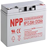 NPP 12V 20 Amp NP12 20Ah Rechargeable Sealed Lead Acid Battery With Button Style Terminals