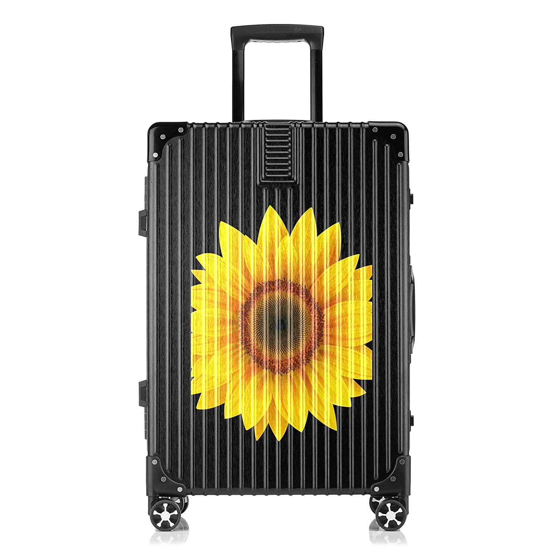 GSHCJ スーツケース 植物 ひまわり キャリーケース 20インチ おしゃれ ブラック Tsaロック搭載 プリント ハード 超軽量 軽い 機内持込 ロックファスナー 旅行 ビジネス 出張 海外 修学旅行 丈夫 便利 レディース メンズ 学生 B07S18GWF9