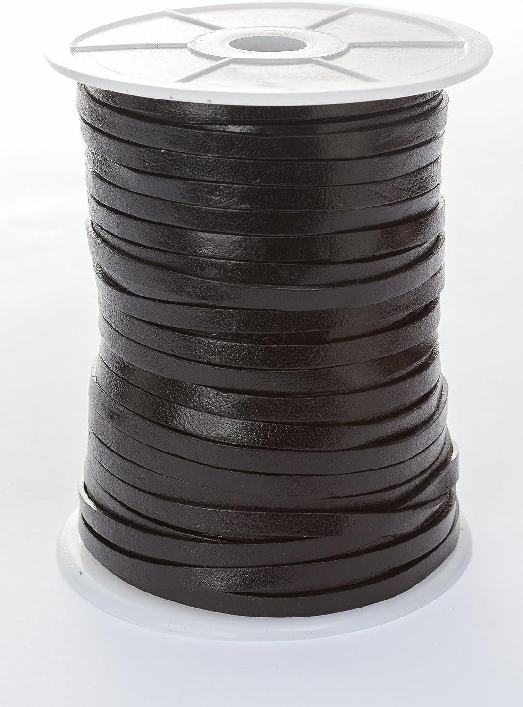 Banda de cuero plana, 5mm x 1,5mm,color/longitud: a elegir., Negro , 5 m