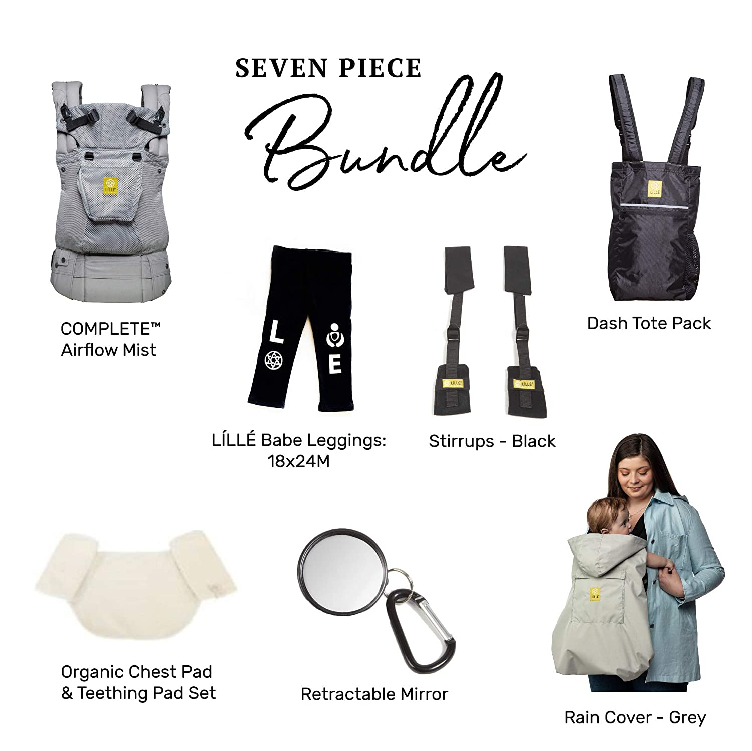 L LL baby Everything Baby Bundle – 7 Items Complete Airflow Ergonomic Baby Child Carrier, Mist Multiple Accessories
