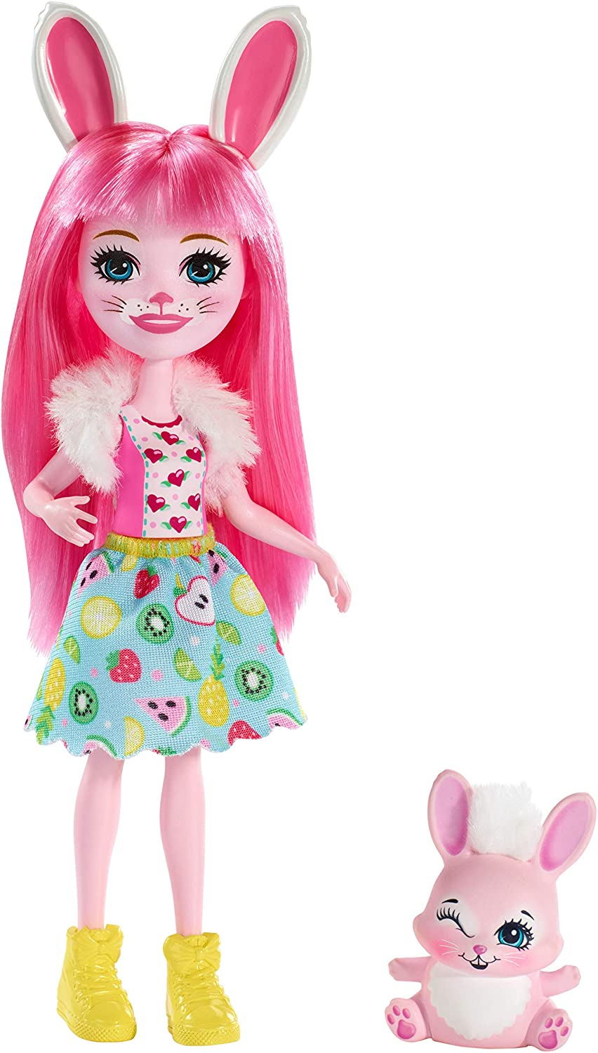 Enchantimals Bree Bunny Doll & Twist Figure, 6-inch small doll, with long pink hair, animal ears and tail, removable skirt, shrug and shoes, Gift for 3 to 8 Year Olds [Amazon Exclusive]