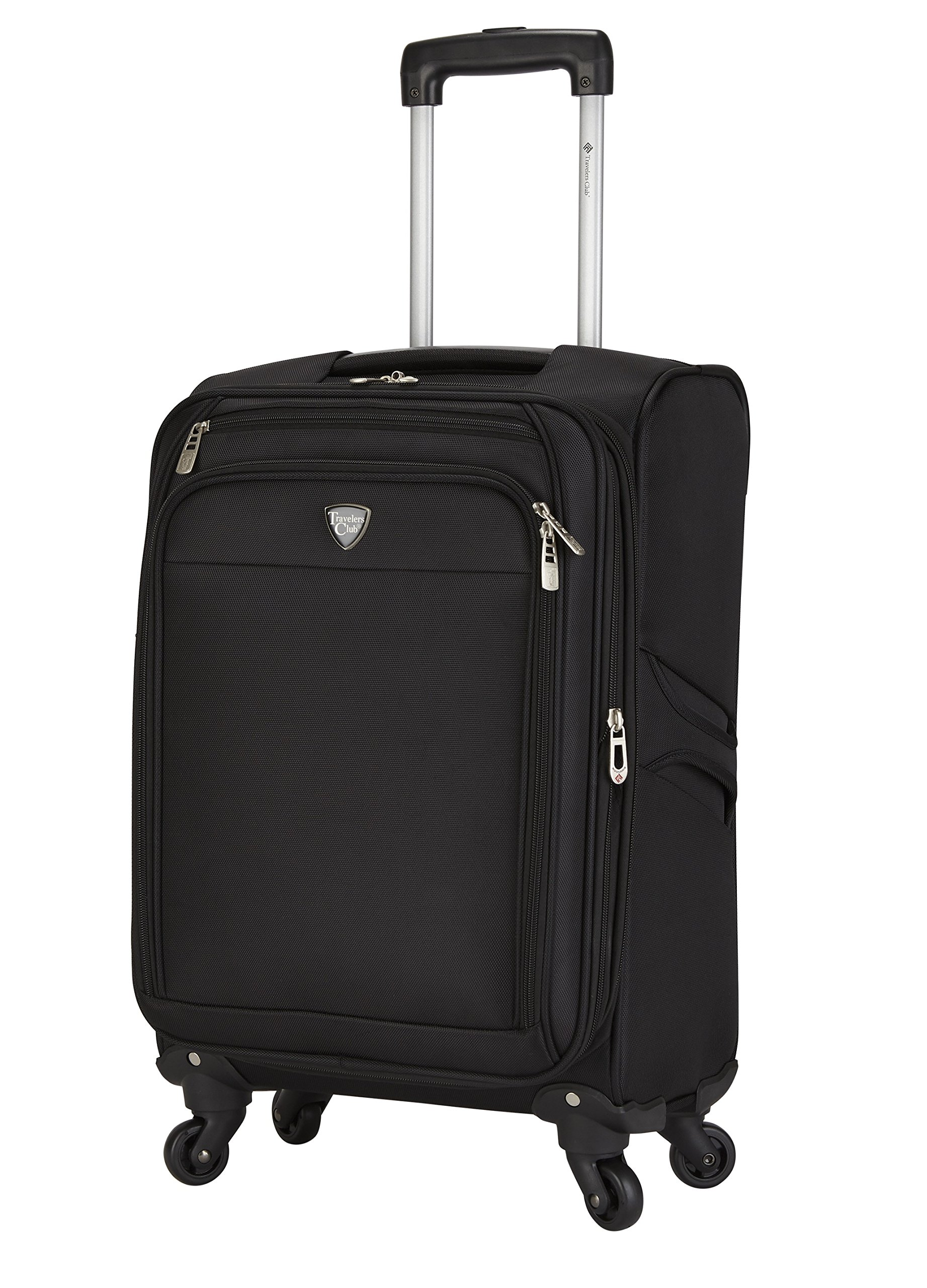 Travelers Club 18'' Carry-On Spinner Luggage Constructed with Top Durable Fabric, Black Color Option