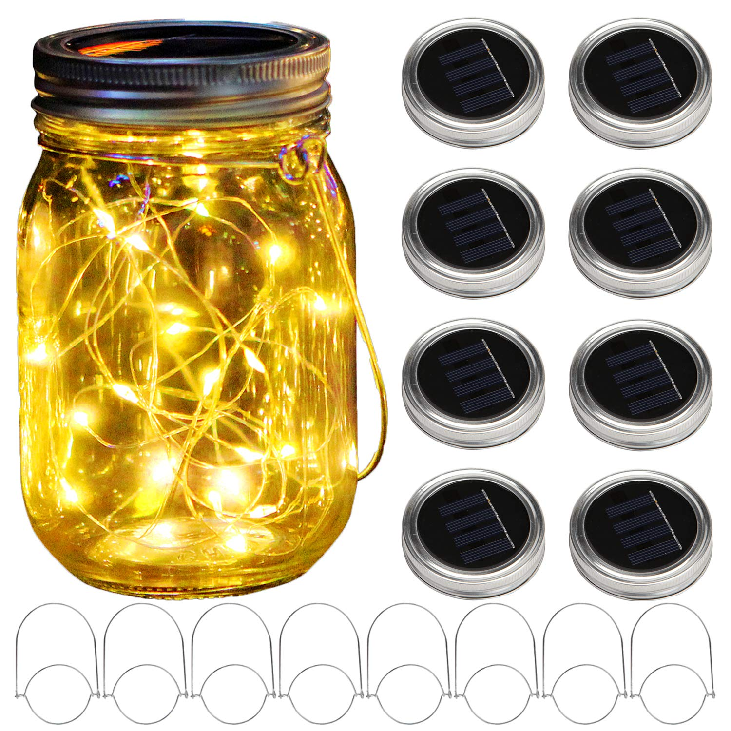 KZOBYD 8 Pack Solar Mason Jar Lid String Lights with 8 Handles,Fairy Starry Firefly Lights Kit Hanging for Outdoor Indoor Patio Wedding Decor(Jars Not Included)