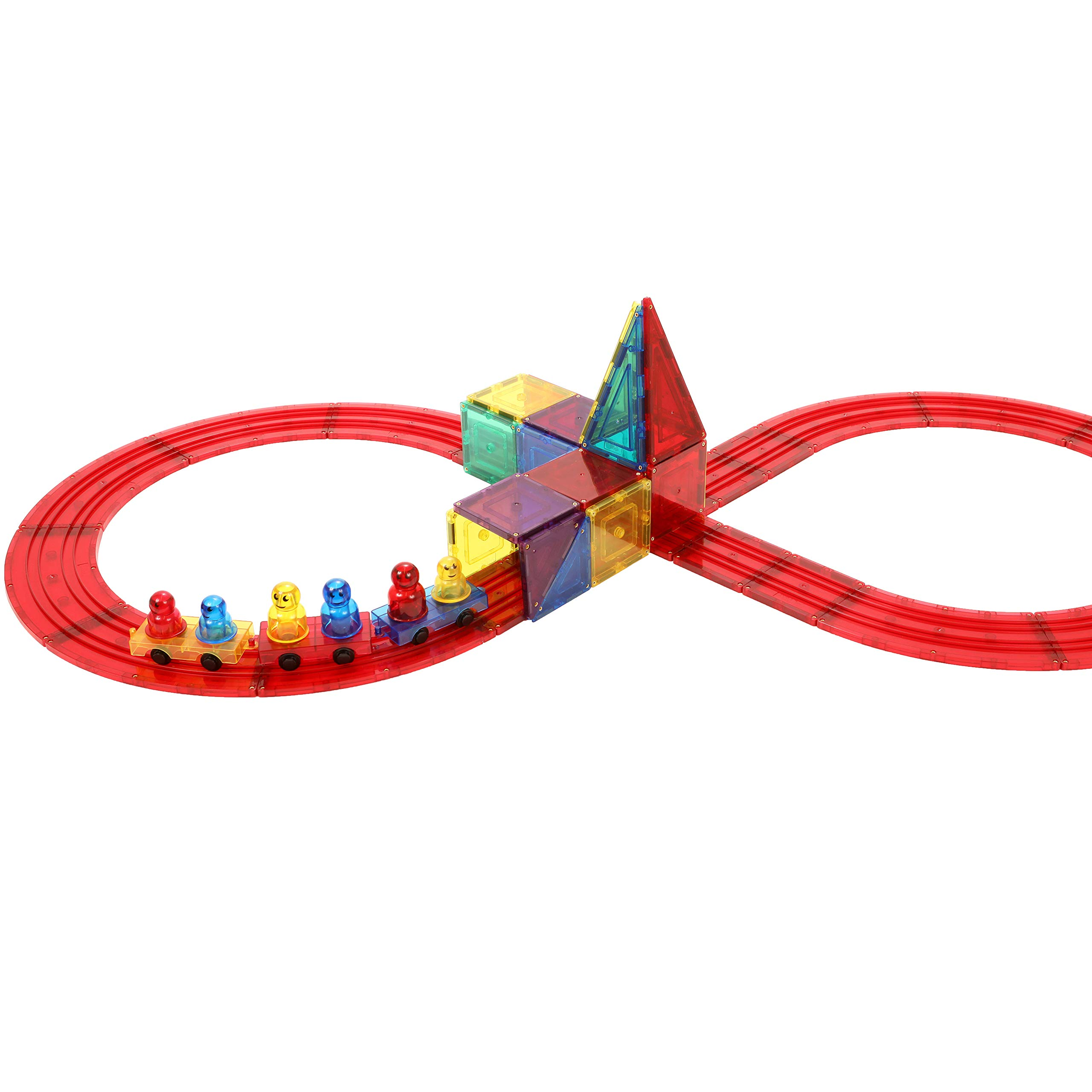 Magnetic Stick N Stack Award Winning 30 Piece Train Set, Made with Power+Magnets, Includes Train Track Tiles, 3 Train Bases and 6 Figures