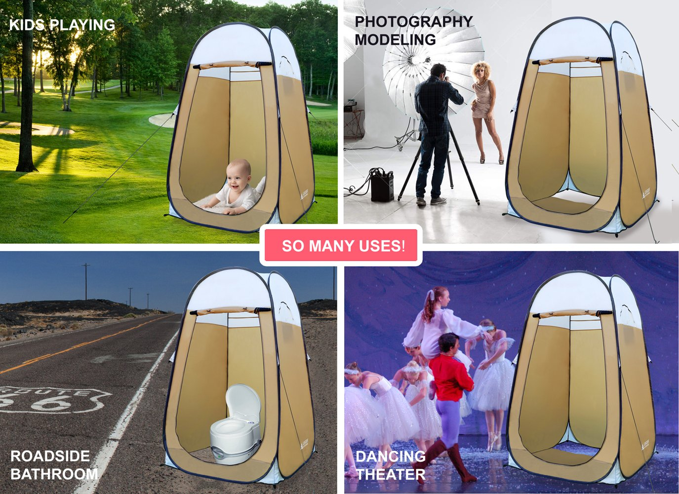 H Leader Accessories Pop Up Shower Tent Dressing Changing Tent Pod Toilet Tent 4 x 4 x 78 Big Size