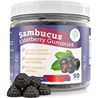 Elderberry Gummies for Kids & Adults - 260mg Sambucus, Vitamin C and Zinc (90 Gummies) Immune System Support Booster…