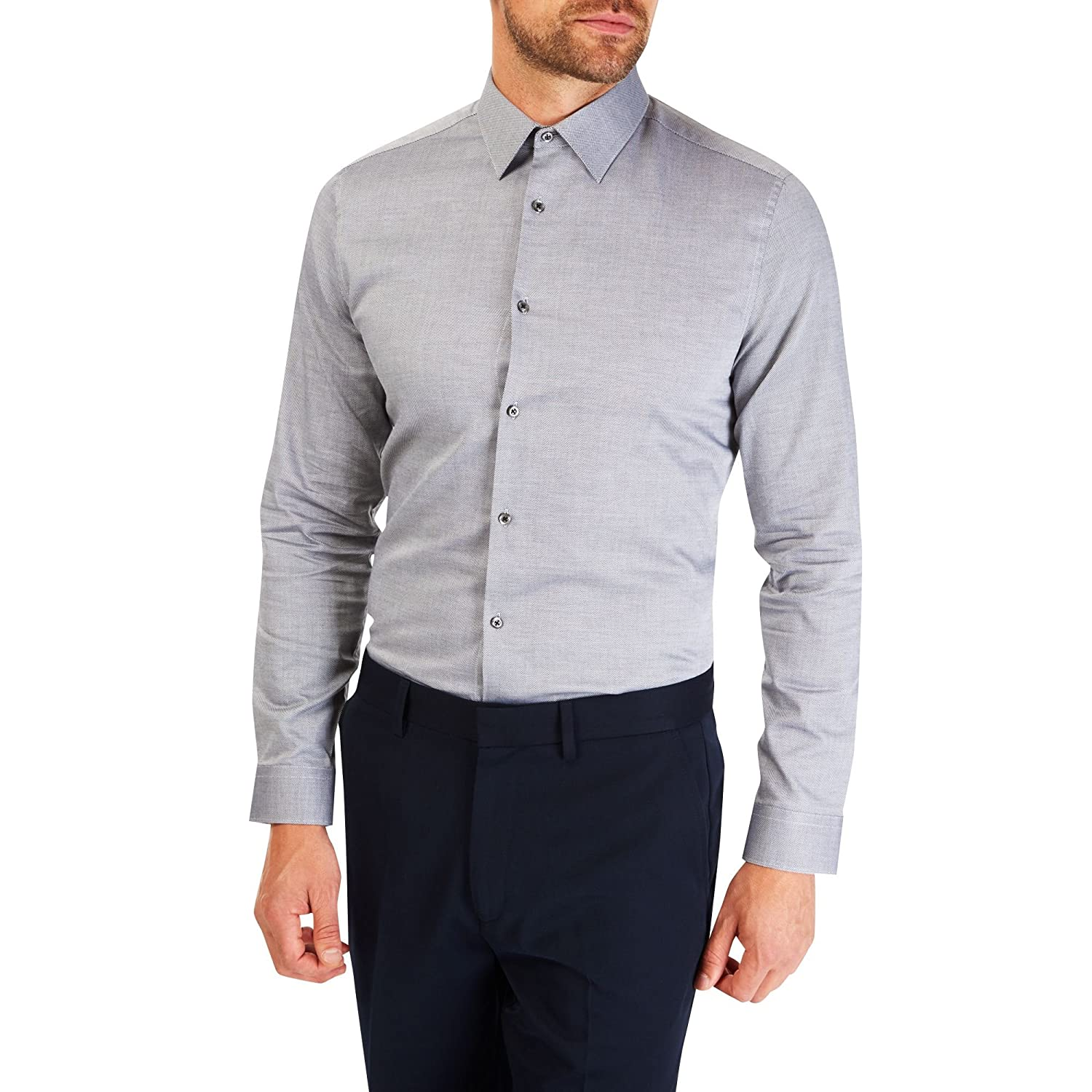 Burton Menswear London Dobby, Camicie da Abitp Uomo, Grey (Charcoal), Large